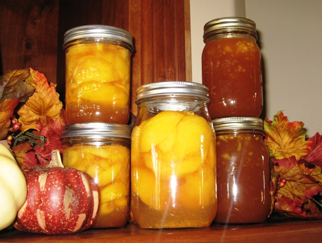 Peach pie filling, peaches in light syrup, and Peachy Vanilla Syrup